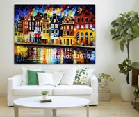architecture switzerland - European City Netherlands Switzerland Architecture Palette Knife Painting Picture Printed On Canvas For Home Office Wall Decor
