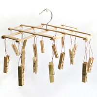 bamboo clothes drying rack - Hot Sales Folding Drying Rack with Clips Bamboo Laundry Socks Clips Underwear Clothes Hangers Household Neccessary JE0150 Smileseller