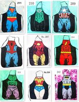 Wholesale 200pcs HOT sale Sexy Men Women Apron superhero Apron spiderman avengers Batman Kitchen Cooking Chef Novelty Funny Naked BBQ Party D477