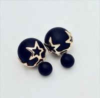 Wholesale High Quality New Fashion Paragraph Double Side Shining Colorful Pearl Stud Earring For Women Hot Sale