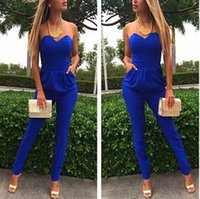 Wholesale 2015 New Arrival Promotio Night Club rompers womens jumpsuit V neck playsuit Bodysuit Blue Cotton Overall for women