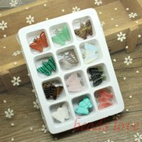 Wholesale Mix Multi style Carved butterfly Natural Stone Charms Finding Pendants mm mm W02748