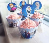 Wholesale Frozen Party Decorations Event Cupcake Wrappers Elsa Anna Princess Kristoff Cup Cake Topper Picks Kids Birthday Supplies Party Favors H01540