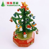 Wholesale Cheap Xmas Trees - Creative Wooden Christmas Tree Ornaments Christmas Xmas Stereo Music Foreground Window Decoration Cheap