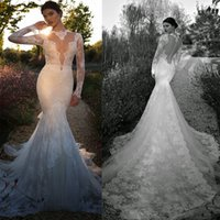 Cheap 2015 Berta Wedding Dresses Sexy Sheer Plunge Neckline Long Sleeves Backless Lace Mermaid Bridal Gown
