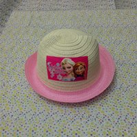Wholesale Frozen hat baby girls princess Elsa Anna beanies visor sun straw hat kids cap