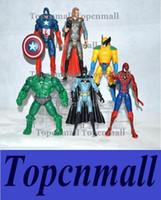 Wholesale The Avengers Captain America Spiderman Thor Batman Hulk Wolverine Action Figures Toy PVC Figure cm set