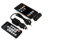 Wholesale 50sets in Mini LCD Car FM Transmitters Radio For iPhone4 G G S iPod Remote control Car charger with cable DHL