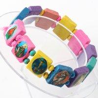 Wholesale 3Styles Fashion Pink Saints Jesus Religious Wood Catholic Icon Beaded Bracelets The Virgin Mary Copper Black