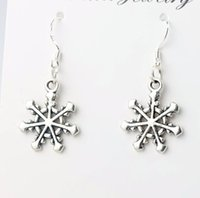 antique style chandeliers - 2016 hot MIC x37mm Antique Silver Rudder Style Snowflake Charm Pendant Earrings Silver Fish Ear Hook Dangle Chandelier E787