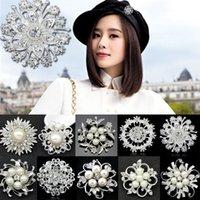 Wholesale 1 X Rhinestone Crystal Wedding Bridal Bouquet Silver Flower Faux Pearl Brooch Pin