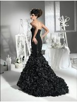 victorian dress - Black Floral Gothic Mermaid Wedding Dress Corset Sweep Train Sweetheart Sexy Modern Custom Made Steampunk Victorian Fashion QUincanera