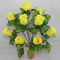 Wholesale 12 artificial floral pattern home boutique wine rose bud bouquet of roses factory direct high grade flash