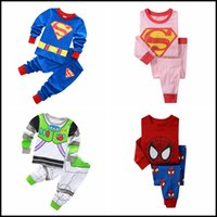 Wholesale 2015 kids superhero cartoon cotton pajamas boys girls superman ironman spiderman batman home wear suit pajama pyjamas J092105 DHL FREESHIP