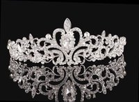Cheap 2016 High Quality Shining Beaded Crystals Wedding Crowns Bridal Crystal Veil Tiara Crown Headband Hair Accessories Party Wedding Tiara