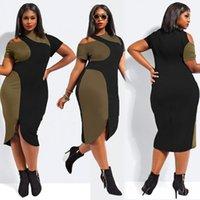 big bag split - Fashion women and big girls Sexy Irregular Bodycon Bag Hip Dress Oblique Shoulder Dresses Panelled dresses XXXL size