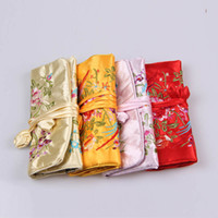 Wholesale Silk Fabric Jewelry Roll Bag Travel Storage Case Gift Pouches Zipper Drawstring Packaging Bags mix color ship by random