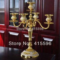Wholesale Romantic Wedding Dinner Decor Crystal Gold Candle Holder Candlestick Table Fashion Candelabra Home Decoration
