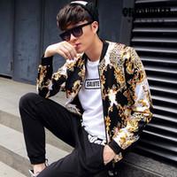 mens clothing - Fall Autumn Club Outfit Gold Blue Mens Leopard Print Jacket Outwear Retro Pantalon Fashion Clothes Luxury Mens Baseball Jacket