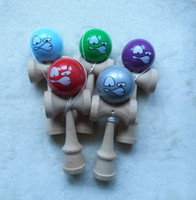 wooden ball - Cute Angry face kendama wooden paint sword ball Skillful Jling Game Ball Japanese Traditional Toy Balls Educational Toys