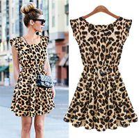 leopard print mini dress - Sexy Leopard Print Casual suit Dress Summer women women s Apparel Fashion Sleeveless Round Neck Waist Down Pleated Mini skirt dress clothes