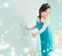 Cheap Fashion Transparent Long Sleeve Sequined Frozen Elsa Dress with Sparkles Children Frozen Dress Elsa Costume