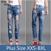 Al por mayor-más el tamaño de los pantalones vaqueros holgados novio Ripped jeans para mujeres apenada vintage de los pantalones del lápiz de la vendimia con el agujero grande 22 24 26 20 40 3XL