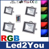 led floodlights - 10W W W W RGB Led Floodlights Color Changing Waterproof IP65 Outdoor Led Garden Lights AC V Remote Control Faster Delivery
