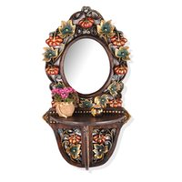 Wholesale Thai crafts creative home retro wood carved mirror frame bathroom toilet washbasin decorative mirror
