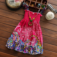 Wholesale 2015 Summer Kids Dress Colour Flower Bohemian Children Dresses Fashion Casual Beach Girls Long Dresses Age Random Colour Send TR170