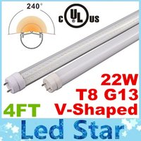 Cheap 4ft Cooler Door V-Shaped T8 G13 Led Tube Light 22W 2800lm Dual Row SMD 2835 Led Fluorescent Lamp Cool White AC 110-277V + cUL UL Listed
