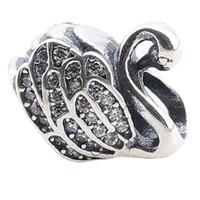 achat en gros de perles d'argent animaux-Perles Loose Pour Pandora Charms Argent 925 Authentique Argent Swan Animaux Bricolage Bijoux Pour Pandora Bracelet PX0079-1B