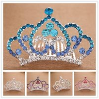 Wholesale Hot Girl Shining Diamond Princess Headwear Crown Hair comb hoop inserted comb type Girls Head Pieces Alloy crown Girl Small Christmas