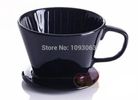 coffee filter - Ceramic Filter Coffee Maker Filter Kit Black Glaze Cone Porcelain Drip Cup Dripper Handle
