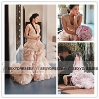 Wholesale 2015 Blush Pink Ruffled Wedding Gown Blush Lace Tulle V neck Open Back High Front Low Back Ball Gown Wedding Dresses