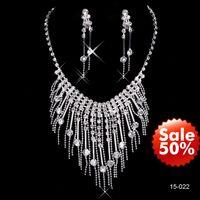 Hot Sale Tassel Rhinestone Mode Boucles d'oreilles Collier Bridal Accessoires Bijoux pour Wedding Party Evening Prom 2015 En Stock Cheap
