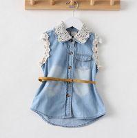 belted denim jacket - 2014 Summer Children Clothes Girls Lace Collar Sleeveless Denim Vest Jacket with Belt T shirt Fit Years