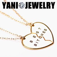 jewelry parts - Fashion Broken Heart Parts Gold Best Bitches Necklaces Pendants Fashion Jewelry For Women Best Gift For Friends
