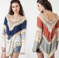 tunic tops - Boho Bikini Cover Up Women V neck Crochet Kimono Blouse Plus Size Shirt Long Knit Tunic Tops
