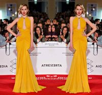 ana gold - 2016 Zuhair Murad Sexy Mermaid Red Carpet Dresses Ana De Armas Malaga Film Festival Chiffon Ruched Floor length Backless Celebrity Gowns