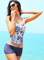 Wholesale Womens Elegant Chinoiserie Blue White Floral Printed Two Piece Swimsuit Vintage Fitted Tankinis Set with Shorts