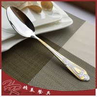 Wholesale JK HOME Western Cutlery Stainless Steel Flatware Set Cutlery Dinner Spoon Gold Plated Cutlery Sets Gold Dinnerware Set