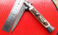 damascus knife - New AKC quot Italian Godfather Milano Stiletto pocket Knife Folder Damascus blade Buckhorn handle Folding blade knives