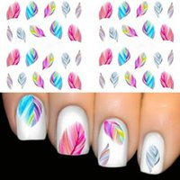beauty dreams - make up Colorful Rainbow Dreams Feather Nail Art Water Transfer Decal Sticker New Beauty