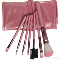 Wholesale 100sets Make up tools cosmetic brush Kit fashion Beauty Makeup Brushes Sets leather pouch pink black free shippig