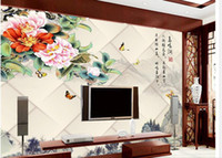 Wholesale Papel de parede peony D backdrop non woven wallpaper new large murals costomize size Free fast shipping y