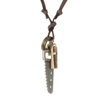 adjustable hacksaw - 8pcs Antique Bronze Pendant Hacksaw Power Charm With Love Message Coin Cross Dog Tag Wealth Leather Adjustable Necklaces For Men