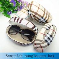 big hard case - Hot sale fashion hard big sunglasses box for women suglasses case plaid leather high quality glass box