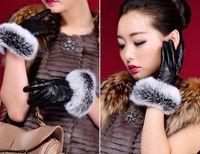 Wholesale Luxury faux rabbit fur pu leather gloves women girl winter warm plush lining five fingers gloves mittens outwear gift