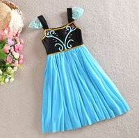 Cheap Frozen Dress Girls Summer Clothing 3Y-8Y Children Princess Anna Lace Short Sleeve Party Dresses Costume Cosplay Dress In Stock